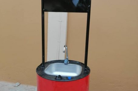 Young Ghanaian invents a hand washing sink with a fitted-in solar panel and sensor